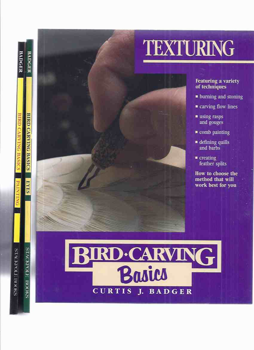 Image for Bird Carving Basics: EYES ( Glass Eyes; Carving; Burning; Detail) / PAINTING (Mixing Colors; Depth Dimension; Vermiculating; Thin Washes) / TEXTURING ( Stoning; Flow Lines; Rasps, Gouges; Comb Painting; Defining Quills & Barbs; Feather splits) THREE BOOKS