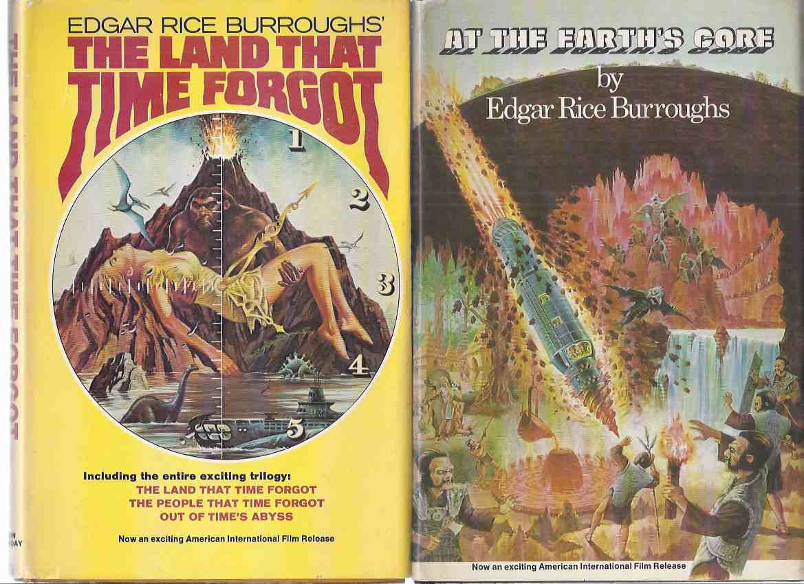 Image for The Land That Time Forgot (contains: Land That Time Forgot / People That Time Forgot / Out of Time's Abyss ) ---with At The Earth's Core -by Edgar Rice Burroughs -TWO VOLUMES - Movie Tie-In Editions with B&W Stills from the Doug McClure Films )( 2 Books )