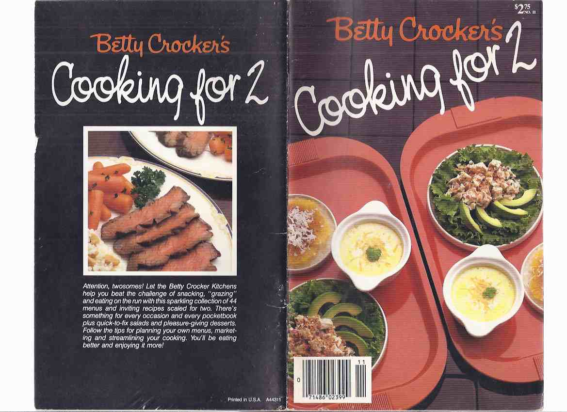 Image for Betty Crocker's Cooking for 2 / Betty Crocker / General Mills, Inc. ( Cook Book / Cookbook / Recipes )( for Two )