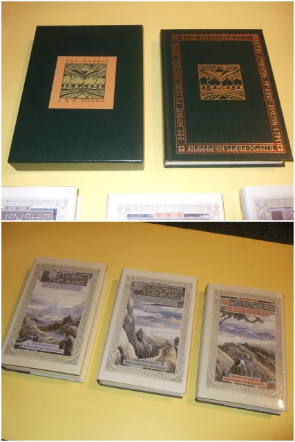Image for J R R TOLKIEN: The Hobbit or There & Back Again ( Slipcased / Boxed Edition, Dark Green Faux Leather --with Three volumes of The Lord of the Rings: Fellowship of the Ring; Two Towers; Return of the King -book 1, 2, 3 ( 4 vol. total)