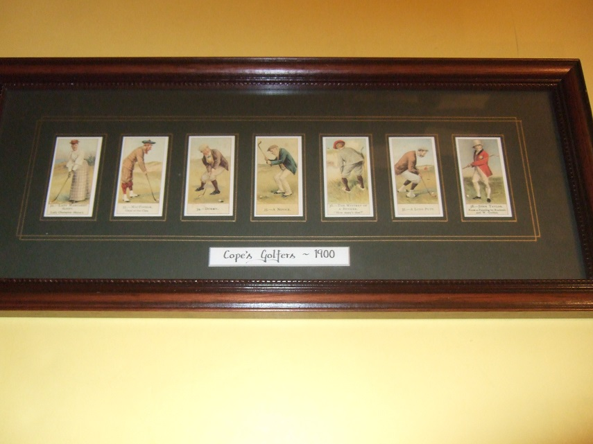 Image for Cope's Golfers 1900 / Cope Bros. Cigarette Cards ( Card # 32 Lady Margaret Scott; 33 MacFoozle, 34 Dormy, 35 Novice, 36 Mystery of a Bunker, 37 A Long Putt, 38 John Taylor )( Golf Cards -Facsimiles, Framed )( Cope Brothers, London, UK )( Golf, Golfing )