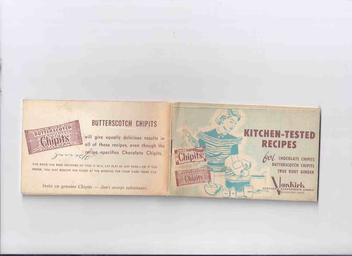 Image for ChipIts:  Kitchen Tested Recipes for Chocolate Chips, Butterscotch Chips, True Root Ginger / VanKirk Chocolate Corporation ( Cookbook / Cook Book / Baking )
