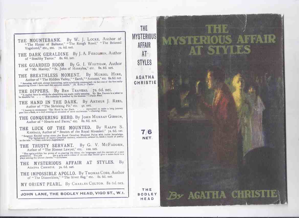 Image for The Mysterious Affair at Styles -by Agatha Christie  (The first book in the Hercule Poirot series)( Facsimile of the 1st Edition )