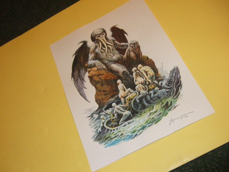 Original Art / Artwork of Cthulhu Rising from the Sea on Paper By Don  Marquez ( H P Lovecraft related)