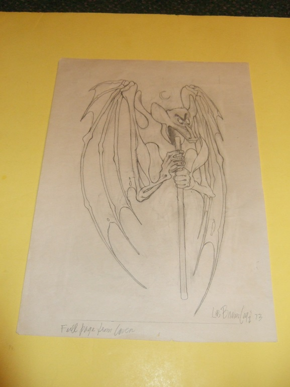 Image for Original Art / Artwork of a Bat Figure -by Lee Brown Coye -signed (  Arkham House / Pulp related)