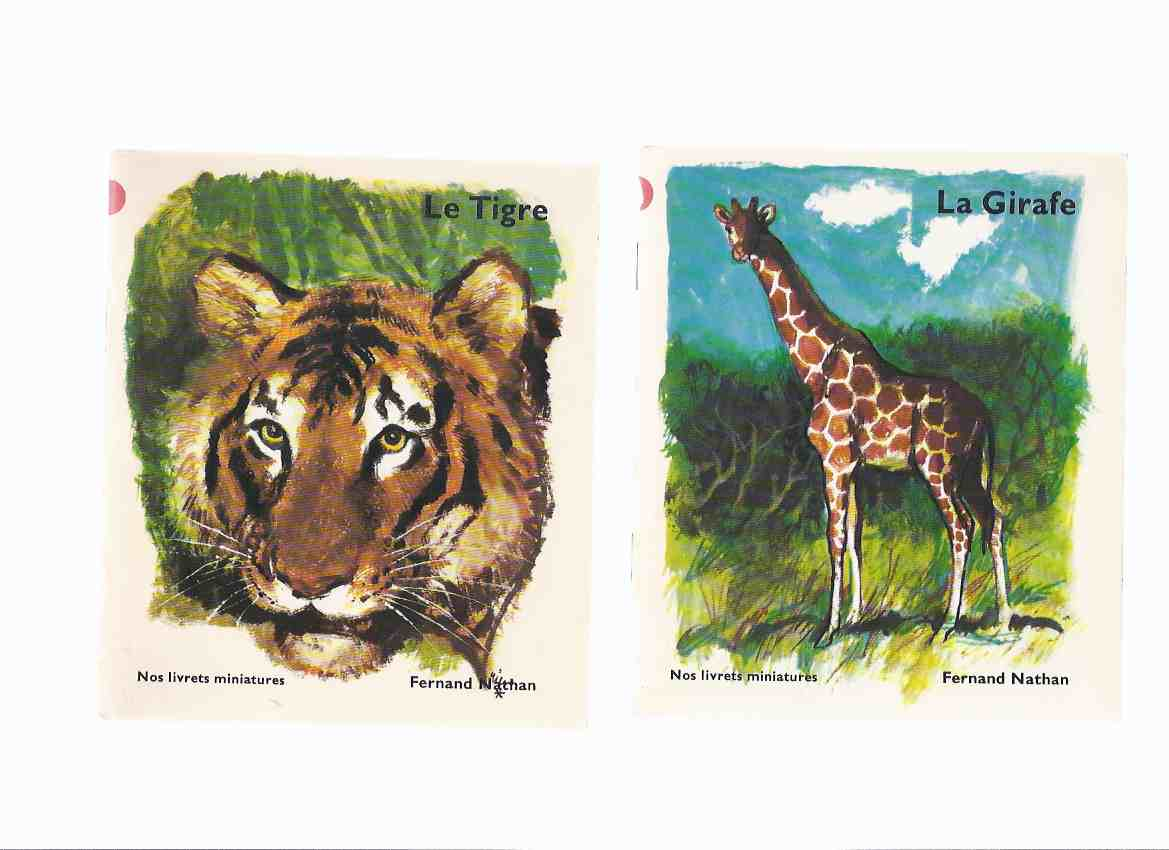 Image for TWO VOLUMES Animaux des pays chauds -Le Tigre; La Girafe / Nos Livrets Miniatures / Dessins De ( Illustrated / Illustrations [ drawings] By Rien Poortvliet ( Fernand Nathan French Edition )