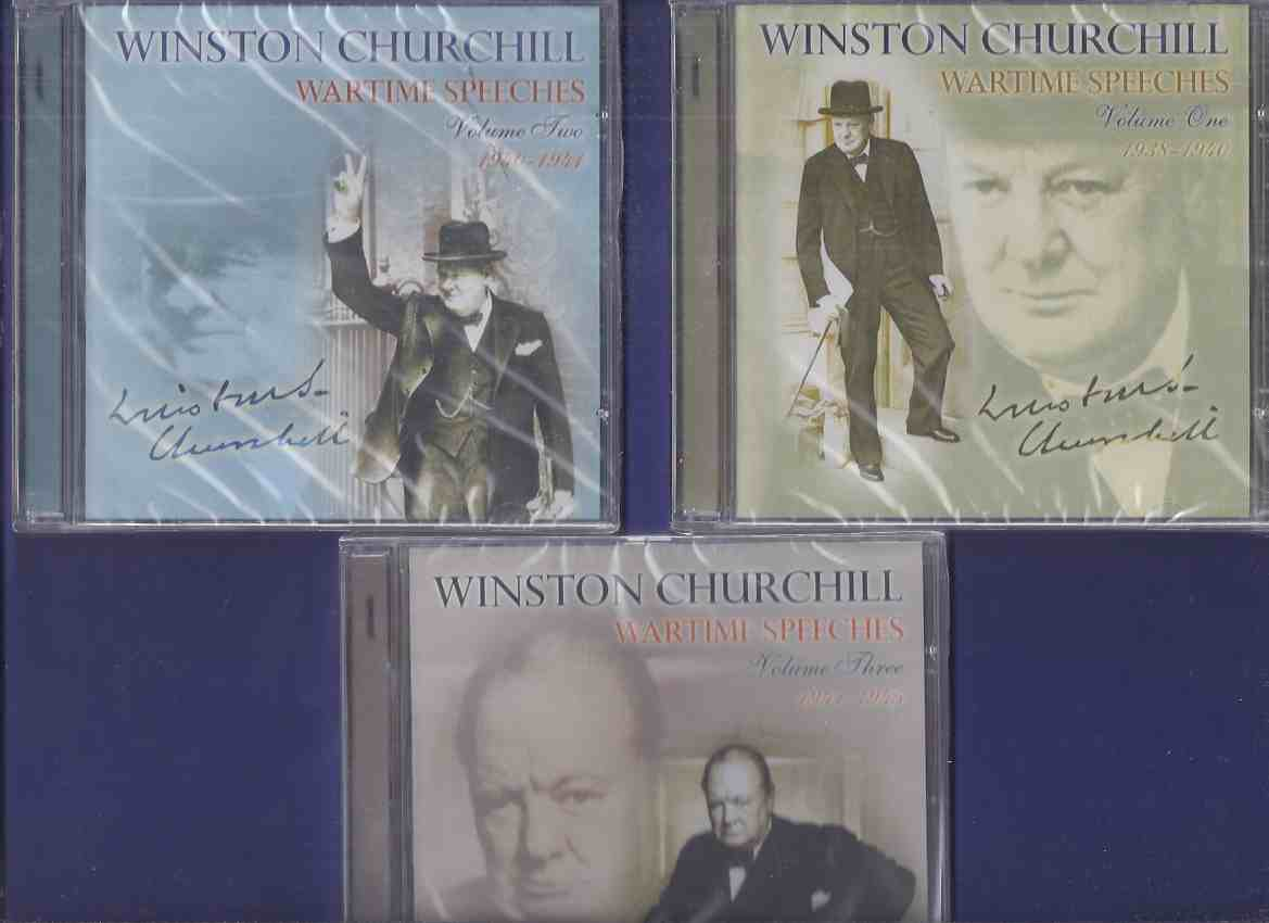 Image for 3 CDS:  WINSTON CHURCHILL:  Wartime Speeches, 1938-1940, 1940-1941; 1941-1945 -Volume 1, 2, 3 on CD -UNOPENED (includes: This Was Their Finest Hour; Sinking of the Graf Spee; A Sterner War; In a Solemn Hour; German Invasion of Russia; etc)( WWII / War )