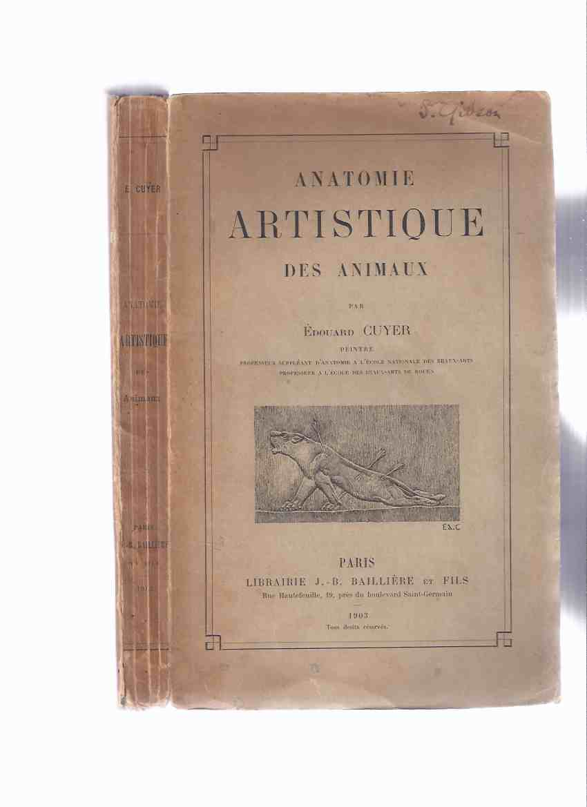 Image for Anatomie Artistique Des Animaux -par Edouard Cuyer  ( French language Edition )( Artistic Anatomy of Animals )