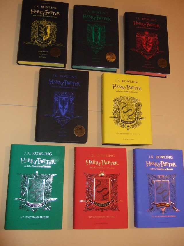 Image for EIGHT VOLUMES:  Hogwarts House Editions of Harry Potter and the Philosopher's Stone /and/ HP and the Chamber of Secrets ( The Hufflepuff; Slytherin; Gryffindor; Ravenclaw Editions with histories & additional material )( 1st Printings with HOUSE COLOURS )