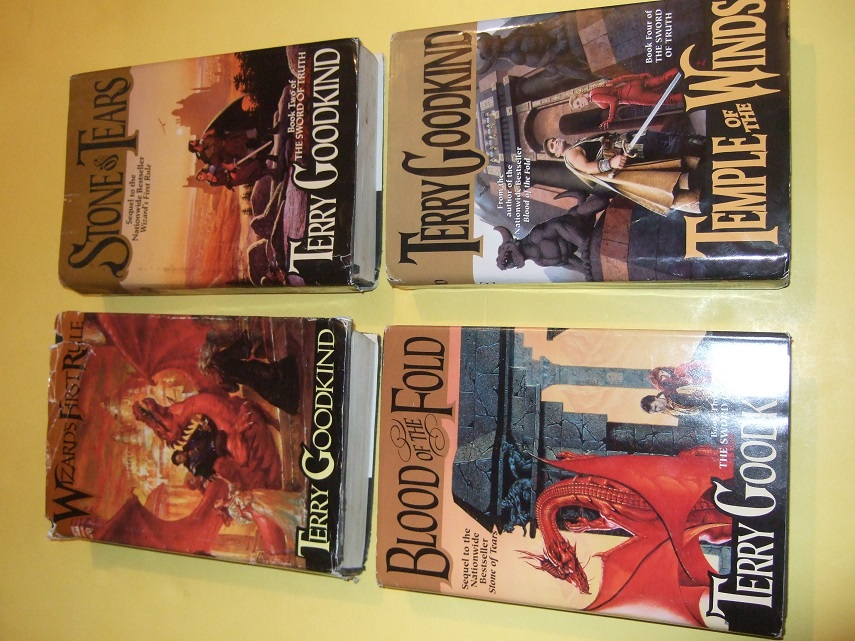 FOUR VOLUMES:  Wizard's First Rule; The Sword of Truth Series: Stone of Tears; Blood of the Fold; Temple of the Winds -by Terry Goodkind -book 1, 2, 3, 4 --