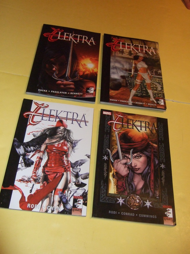 Image for Four Volumes:  ELEKTRA: Introspect, Everything Old is New Again; Relentless; Frenzy -book 1, 2, 3, 4 / Marvel Comics - Marvel Knights (collects Issues 10 11 12 13 14 15 16 17 18 19 20 21 22 23 24 25 26 27 28 29 30 31 32 33 34 35 )( Graphic Novels )