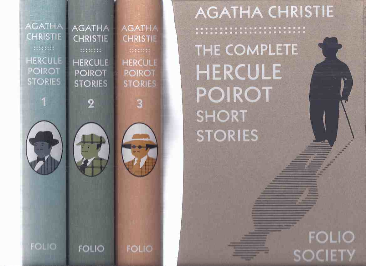 Image for 3 Volumes in SLIPCASE:  The Complete Hercule Poirot Short Stories -by Agatha Christie / FOLIO Society (inc. Adventure of The Cheap Flat; Mystery of Hunter's Lodge; Case of the Missing Will; Chocolate Box; Tragedy at Marsdon Manor, etc)