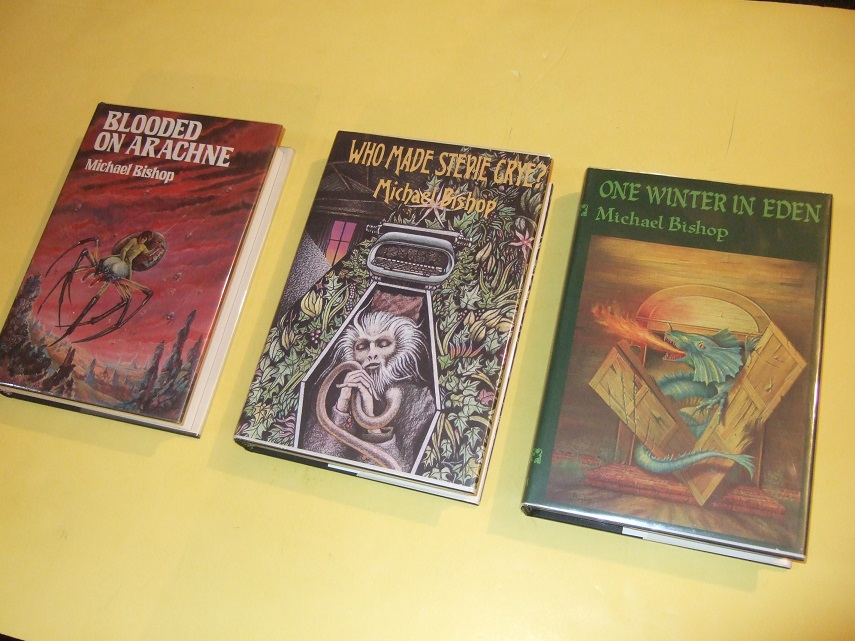 Image for Three ARKHAM HOUSE VOLUMES:  Blooded on Arachne; One Winter in Eden; Who Made Stevie Crye? -by Michael Bishop -all Signed ( Cry )