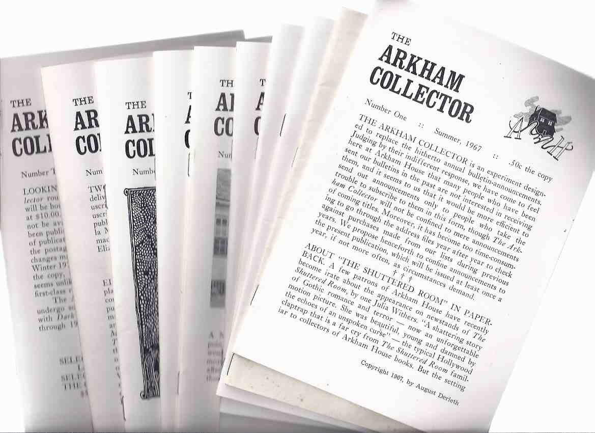 Image for ARKHAM HOUSE -TEN VOLUMES:  The Arkham Collector  ( Book 1 2 3 4 5 6 7 8 9 10 ( illustrated with B&W photos as well as B&W illustrations including Lee Brown Coye Rats in the Walls, Lovecraft's map of Arkham circa 1930, etc)