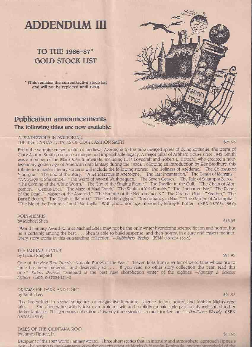 Image for ARKHAM HOUSE Ephemera:  Addendum iii  to the 1986-87 Gold Stock List  (issued May 1988 )