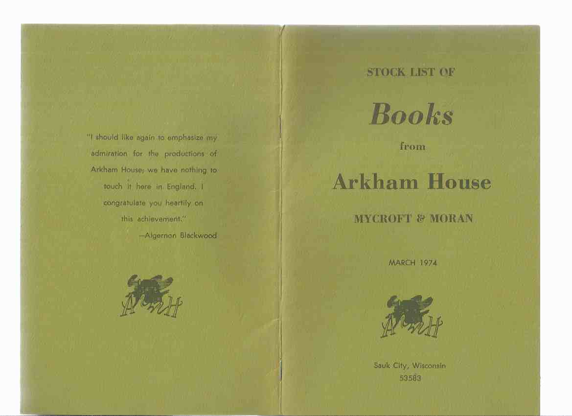 Image for ( MAYS # 60 / # 61 ) ARKHAM HOUSE Ephemera:  Stock List of Books from Arkham House Mycroft & Moran March 1974 ---with ADDENDUM March 1974 Catalog ( Catalogue )