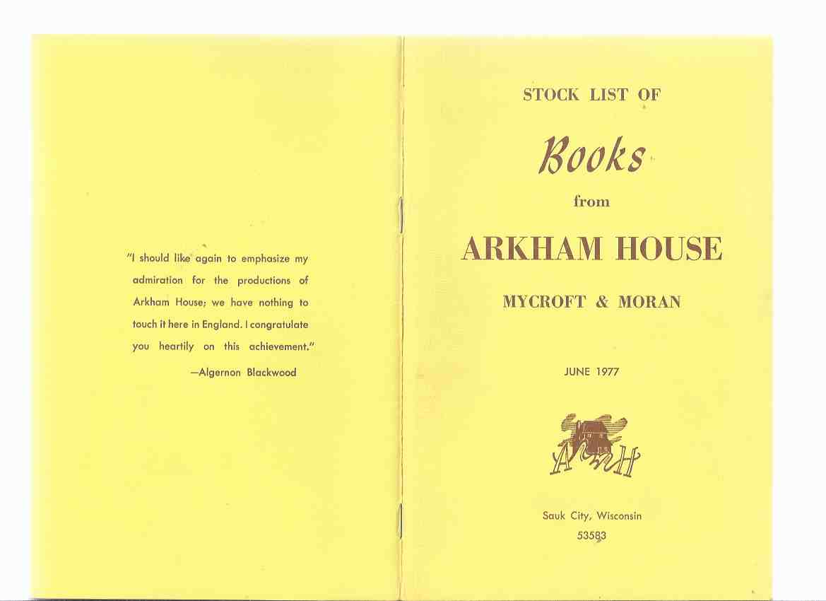 Image for ( MAYS # 67 / 69 ) ARKHAM HOUSE Ephemera in Original Envelope: Stock List of Books from Arkham House Mycroft & Moran June 1977 ---with Addendum June 1978 Catalog ( Catalog / Catalogue )