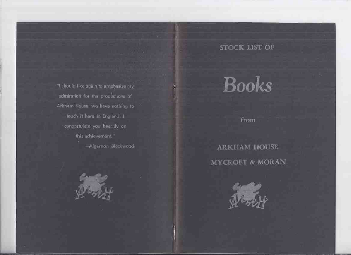 Image for ( MAYS # 53  / HERRON # 90 ) ARKHAM HOUSE Ephemera:  Stock List of Books from Arkham House Mycroft & Moran ( Stock List /  Catalog / Catalogue )