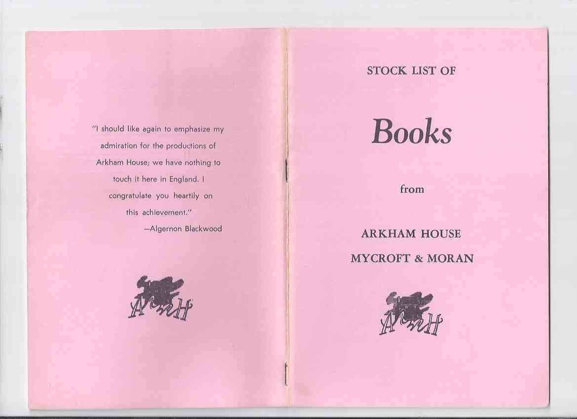 Image for ( MAYS # 52  / HERRON # 89 ) ARKHAM HOUSE Ephemera:  Stock List of Books from Arkham House Mycroft & Moran ( Stock List /  Catalog / Catalogue )