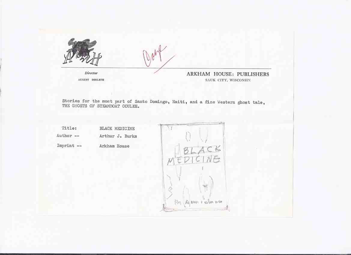 Image for ARKHAM HOUSE Ephemera:  UNDATED Letter on AH Stationery To Lee Brown Coye About the AH Edition of Black Medicine