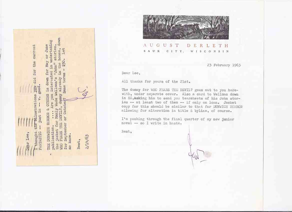 Image for ARKHAM HOUSE Ephemera:  Archive of Letters from AH / August Derleth to Lee Brown Coye about the cover art for Who Fears the Devil by Manly wade Wellman ( 6 pieces all signed By AD )